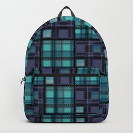 Blue purple colorful checkered pattern . Backpack