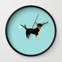 Chihuahua funny fart dog pure breed gifts dog lovers black and tan Wall Clock