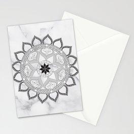 Bohemian New Age Yoga Zen Lotus Flower White Marble Grey Mandala Stationery Cards
