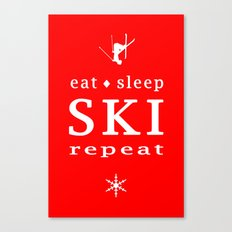 eat sleep ski repeat Canvas Print
