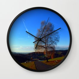 Tree, road and indian summer evening | landscape photography Wall Clock