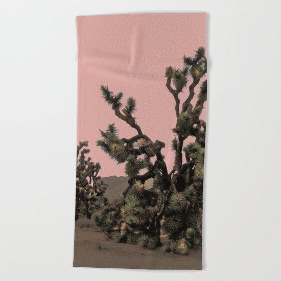 pink joshua tree Beach Towel