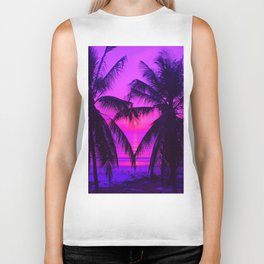 Pink Palm Trees by the Indian Ocean Biker Tank