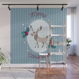 Merry Christmas - Moose and snow Wall Mural