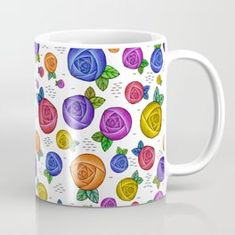 Retro Illustrated Roses Coffee Mug