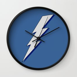 Just Me and My Shadow Lightning Bolt - Blue Background Wall Clock