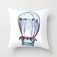 ballon Throw Pillows featuring Hot Air Ballon by Ann Garrett