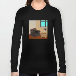 Monsieur Bone and the cat in the room Long Sleeve T-shirt
