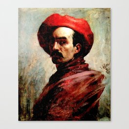 Self-portrait,  Cristóbal Rojas Poleo, 1887 Canvas Print