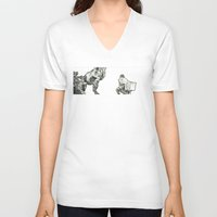 jurassic park V-neck T-shirts featuring jurassic by Brian Draws Movies