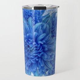 Oriental Style  Blue Chrysanthemums Garden Floral Pattern Travel Mug