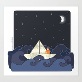 sailing in a letters sea Art Print