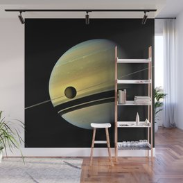 Saturn and its Moon Titan in Orbit Telescopic Photograph Wall Mural