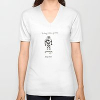 video games V-neck T-shirts featuring I play video games by Clifford Allen