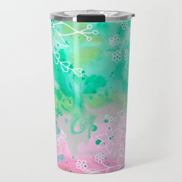 Watercolour abstract floral 3 Travel Mug