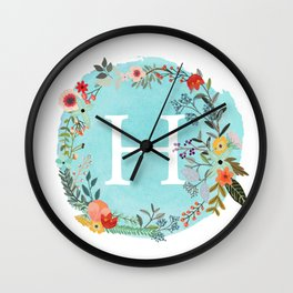 Personalized Monogram Initial Letter H Blue Watercolor Flower Wreath Artwork Wall Clock