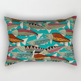 Alaskan salmon teal Rectangular Pillow