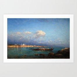 View of Hagia Sophia & Constantinople from the Marmara Sea maritime coastal landscape by Felix Ziem Art Print
