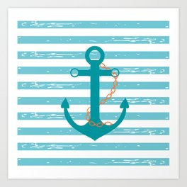 AFE Nautical Teal Ship Anchor Art Print