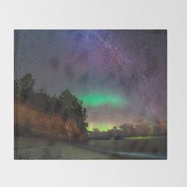 Hidden Beach Milky Way and Northern Lights Throw Blanket
