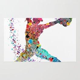 Baseball Softball Pitcher Watercolor Print Art Print Girl's Softball Painting Rug
