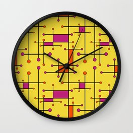 Intersecting Lines in Orange, Hot Pink on Yellow Wall Clock