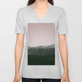 Mountains | Green + Pink Unisex V-Neck