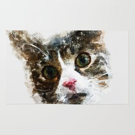 cat for real watercolor mix Rug