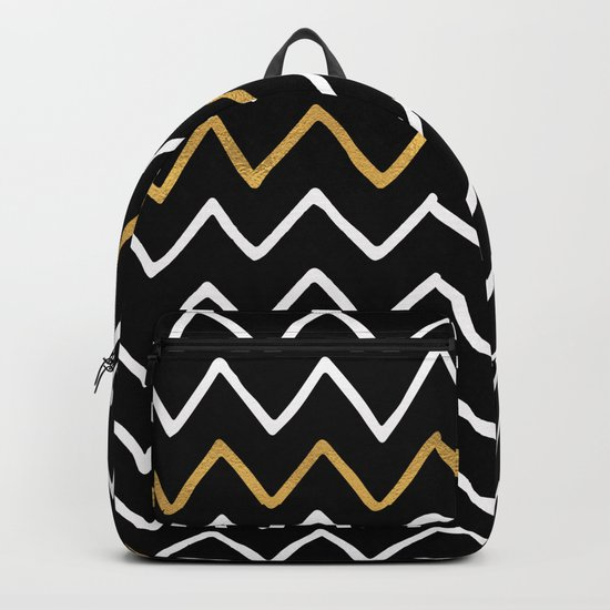 Writing Exercise-Simple Zig Zag Pattern- White Gold on Black -Mix & Match with Simplicity of life Backpack