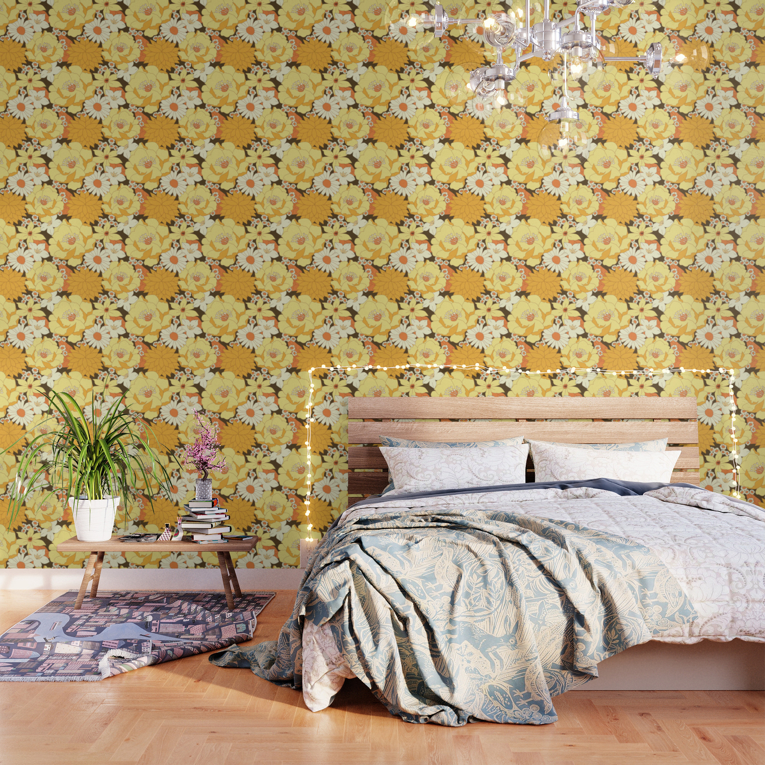 Yellow Orange And Brown Vintage Floral Pattern Wallpaper By