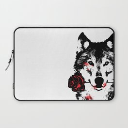 Wolf blood stained, holding a red rose. Laptop Sleeve