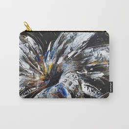 white flower on black background, painted Carry-All Pouch