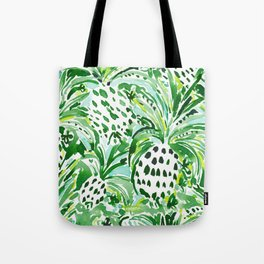 TROPICAL SITCH Green Pineapple Watercolor Tote Bag
