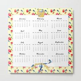 2015 Calendar, Bluebirds and Geraniums Metal Print