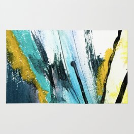 Splash: a vibrant mixed media piece in blues and yellows Rug