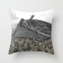 Boat Beached on a Rocky Shore in the Mist Throw Pillow