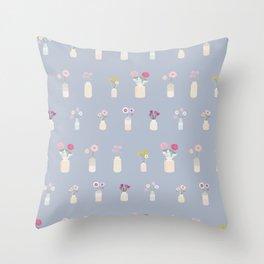 Flowers - blue Throw Pillow