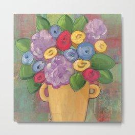 Folk Floral Vase Metal Print