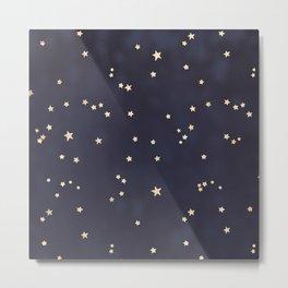 Navy Blue Gold Stars Night Sky Space Galaxy Pattern Metal Print