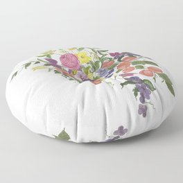 a bouquet with classic floral and fruits motif. Floor Pillow