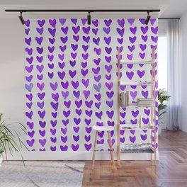 Brush stroke hearts - purple Wall Mural
