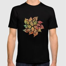 Floral Abstract 15 Black Mens Fitted Tee MEDIUM