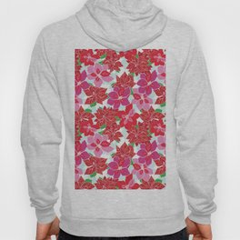 Red and Pink Poinsettias Hoody