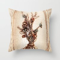 vintage flowers Throw Pillows featuring Vintage Flowers by Christine baessler