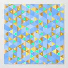 Contemporary Faux Gold and Blue Triangles Pattern Canvas Print