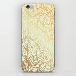 Bohemian Gold Feathers Illustration With White Shimmer iPhone Skin