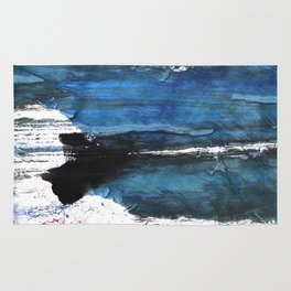 Black blue abstract Rug