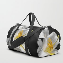 Lily flower covered by raindrops Duffle Bag