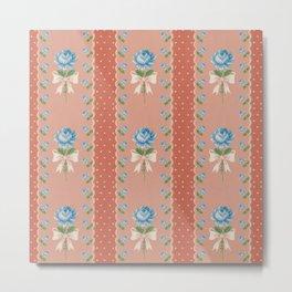 Vintage Wallpaper Pattern Blue Roses Coral Polka Dots Metal Print