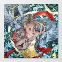 The Awakening, Goddess Artemis with Deer Canvas Print
